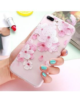 3D Relief Floral Soft Silicon iPhone Case - Pink