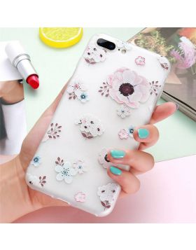 3D Relief Floral Soft Silicon iPhone Case - White