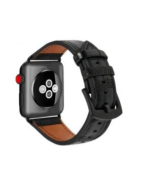 Black Alligator Grain Leather Band For Apple Watch 38mm 42mm 40mm 44mm