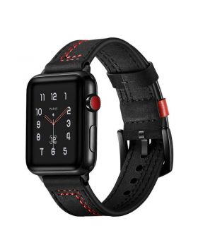 New Black Buckle Clasp Apple Watch Leather Band Series 4/3/2/1