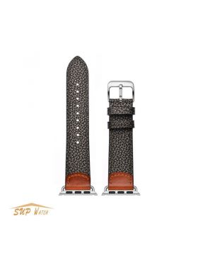 Black Cowhide Leather Watch Band For Apple Watch Series 5/4/3/2/1