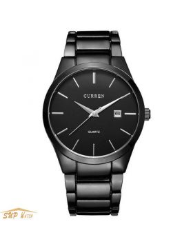Black Men's Full Steel Calendar watch