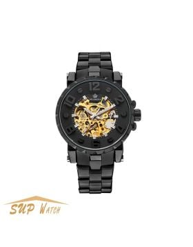 Black Men's Golden Skeleton Mechanical Watch