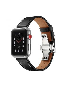 Black Single Tour Apple Watch Leather Band Series 4/3/2/1