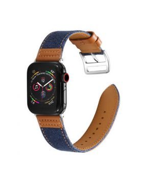 Canvas Leather Stitching Apple Watch Band Series 5 4 3 2 1