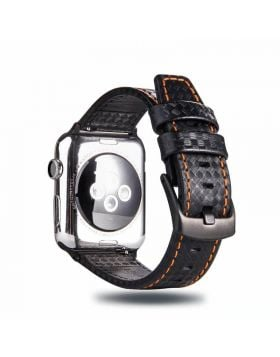 Carbon Fiber Style Apple Watch Leather Band 38mm/40mm/42mm/44mm