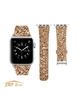 Christmas Shiny Glitter Power PU Leather Bling Watch Band For Apple Watch