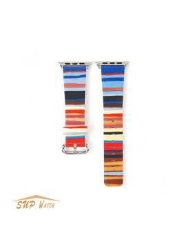 Colorful Striped Printed Leather Watch Band For Apple Watch 38mm 42mm