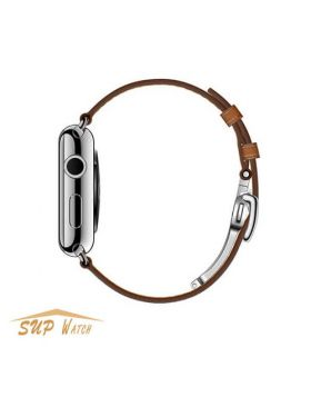 Hermes Style Deployment Buckle Single Tour Leather Band for Apple Watch