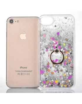 Dynamic Liquid Bling Glitter Quicksand Moving Star iPhone Case Ring Holder