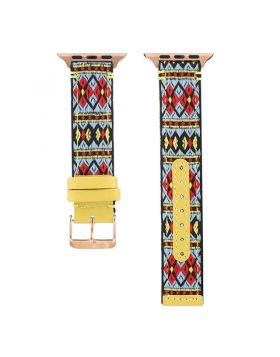 Ethnic Embroidery Leather Band for Apple Watch