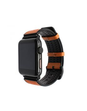 Italy Calf Leather and TPU Rubber Apple Watch Replacement Band Series 4/3/2/1