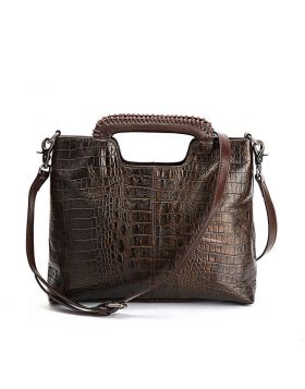 Ladies Bucket-style Genuine Leather Crocodile Texture Tote Handbag