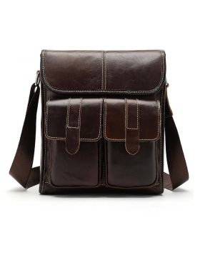 Men Genuine Leather Messenger Bag