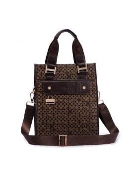 Men Geometric Patterns Genuine Leather Tote Bag