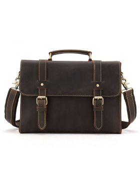 Men's Casual Style Crazy Horse Leather Briefcase Bag