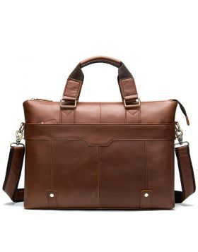Men's Leather Diagonal Business Briefcase