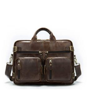 Men's multi-function three-dimensional large capacity leather business briefcase bag