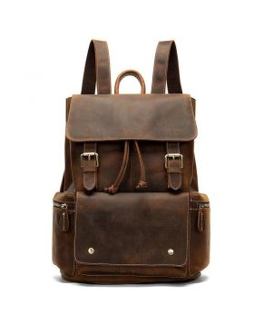 Men's Sports Flap Leather Backpack