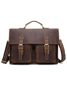 Men's Vintage Crazy Horse Leather Briefcase Shoulder Bag