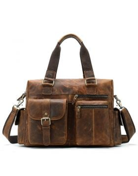 Men's Vintage Large Capacity Leather Laptop Briefcase Bag