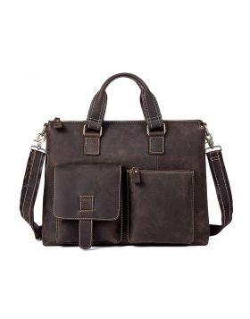 Men's Vintage Leather Business Laptop Briefcase