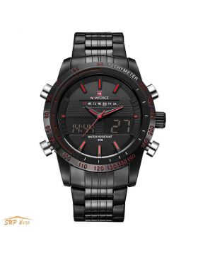 Men's Fashion Full Stainless Steel Dual Time Sport Watch