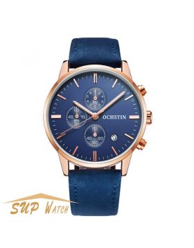 Men's Multifunction Leather Strap Wristwatch