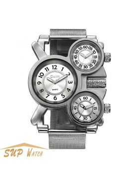 Men's Multiple Time Zone Unique Sports Wristwatch