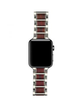 Natural Red Sandalwood Stainless Steel Bracelet For Apple Watch Series 4/3/2/1