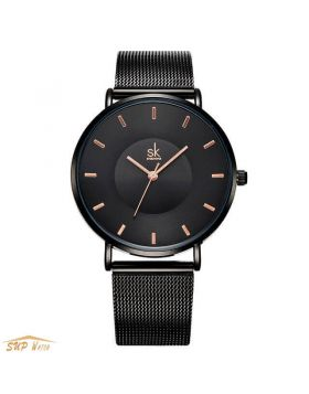 Black Women Ultra Thin Dress Watch