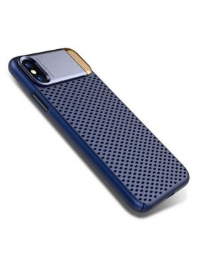 Shockproof Ultra Thin Metal Openwork Non-Slip Mesh Protective Case Cove For iPhone X With Kickstand