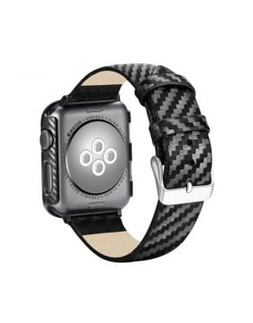 Sport Carbon Fiber Leather Apple Watch Replacement Band + Case