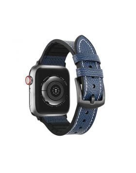 Unique Leather+Silicone Sports Bands for Apple Watch 38mm 40mm 42mm 44mm
