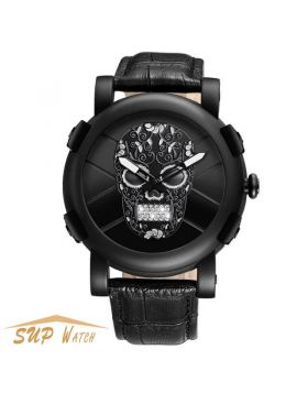 Unique Men's Pirate Skeleton Skull Leather Sports Watch
