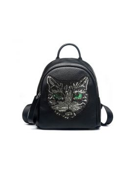Women Cat Head Style Genuine Leather Backpack