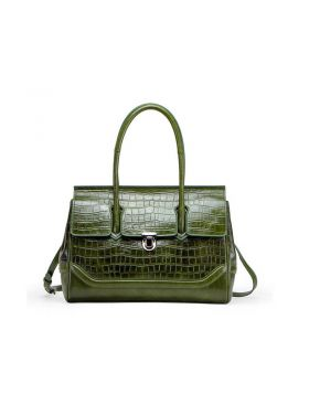 Women Crocodile Texture Genuine Leather Big Tote Bag