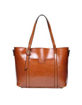 Women Genuine Leather Big Brown Tote Bag