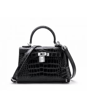 Women Genuine Leather Crocodile Platinum Shoulder Bag