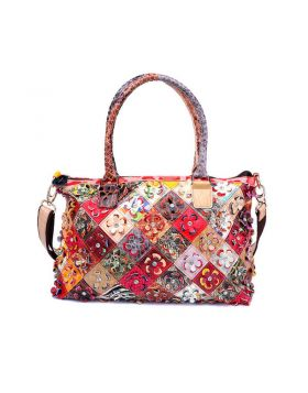 Women Genuine Leather Patchwork Floral Tote Bag