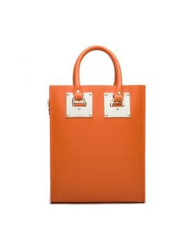 Women Genuine Leather Square Patch Big Tote Bag