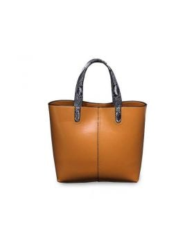 Women Large Brown Genuine Leather Tote Handbag