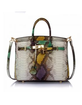 Women New Designer Genuine Leather Serpentine Tote Bag