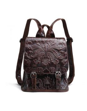 Women Oil Wax Style Genuine Leather Travel Backpack