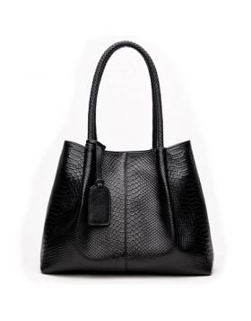 Women's Snake Knitted Leather Tote Handbag