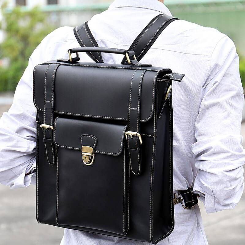 699f8bbea19c Men's Fashionable Multi-function Leather Laptop Backpack