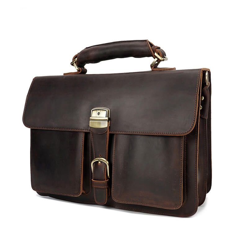 b27dbc94a524 Men's Luxury Style Crazy Horse Leather Business Briefcase Bag