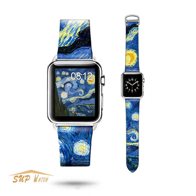 Art Design Leather Watch Band For Apple Watch Series 3 2 1
