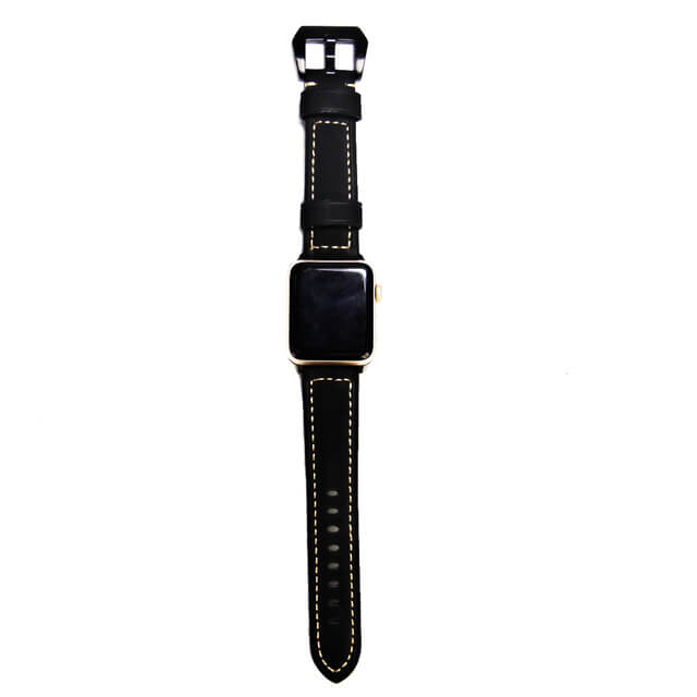 Black Genuine Leather Band for Apple Watch Series 4321, 44mm&42mm