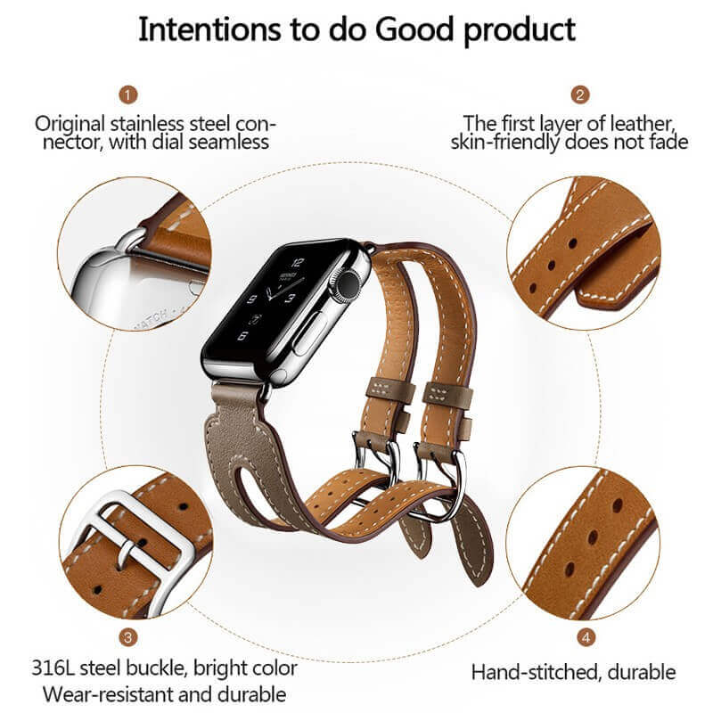 Double Buckle Leather Band For Apple Watch Series 4/3/2/1